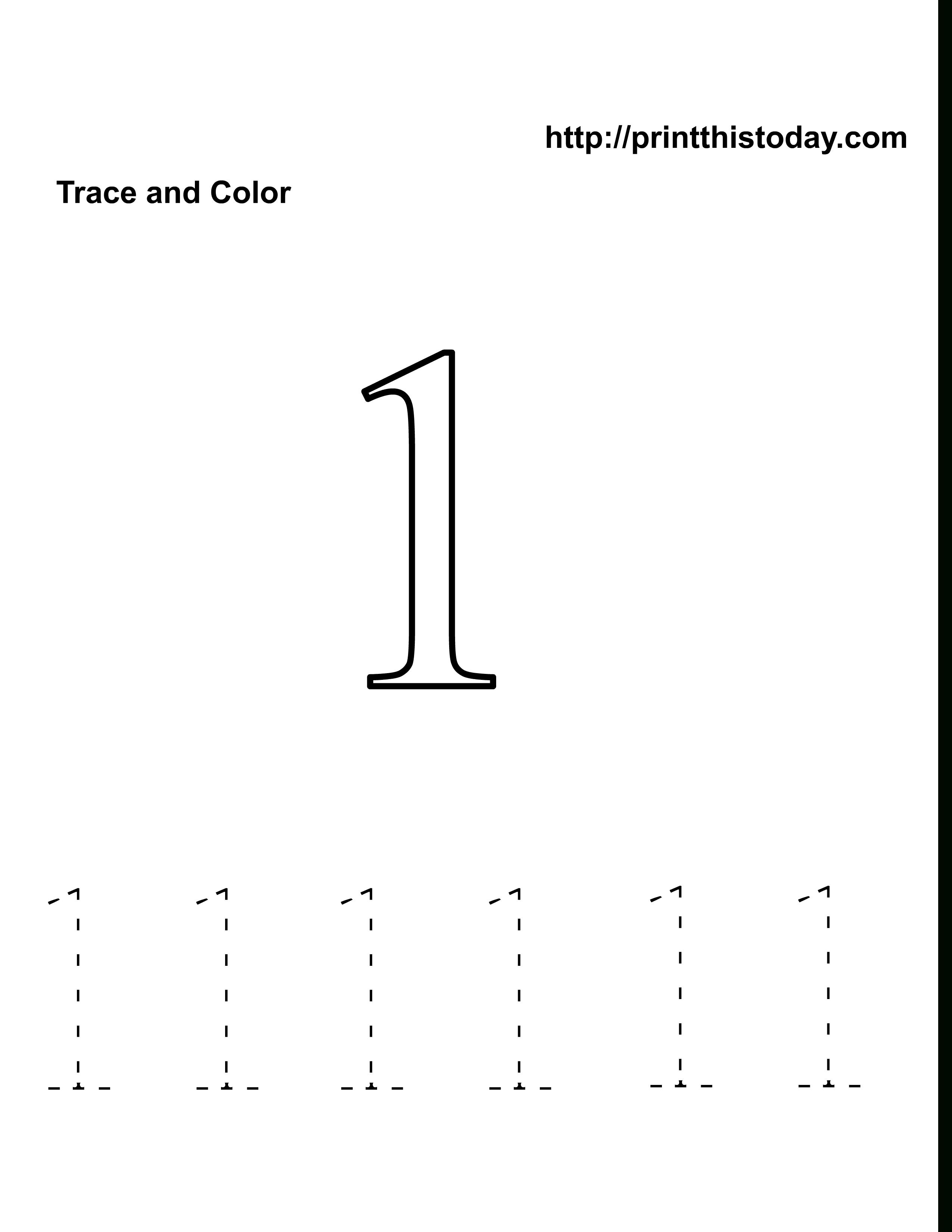 Preschool Number One Worksheet | Number 1 Tracing Worksheets
