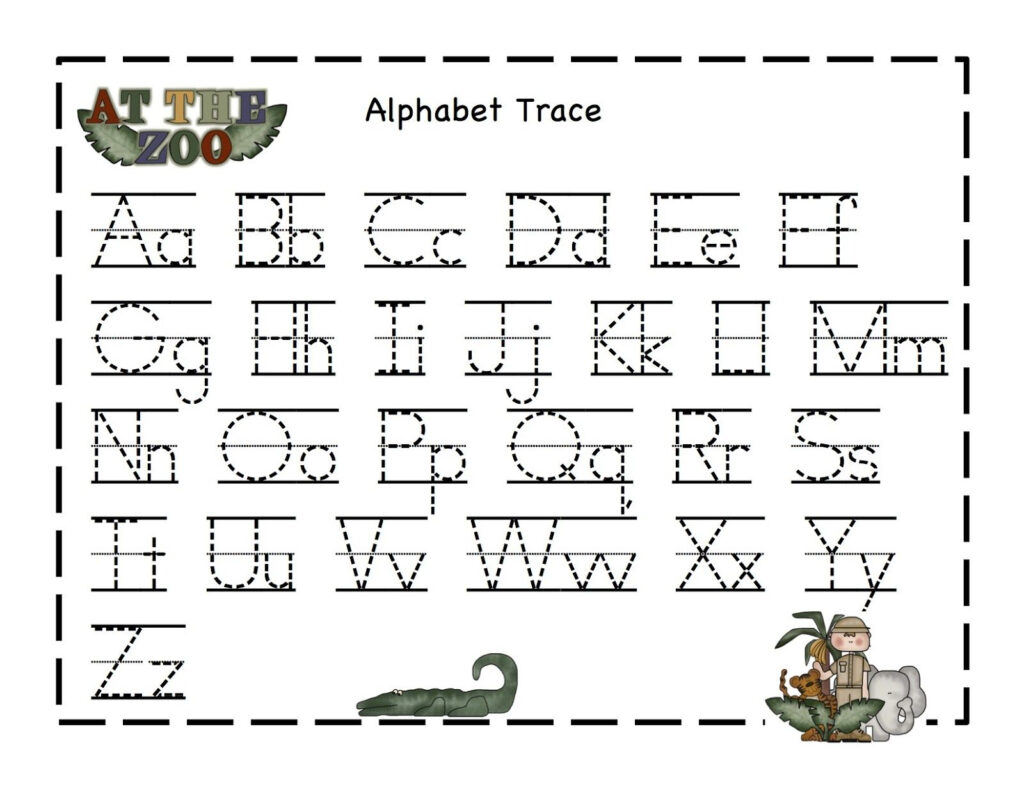 Preschool Printables At The Zoo Printable | Alphabet Tracing Pertaining To Abc 123 Tracing Pages