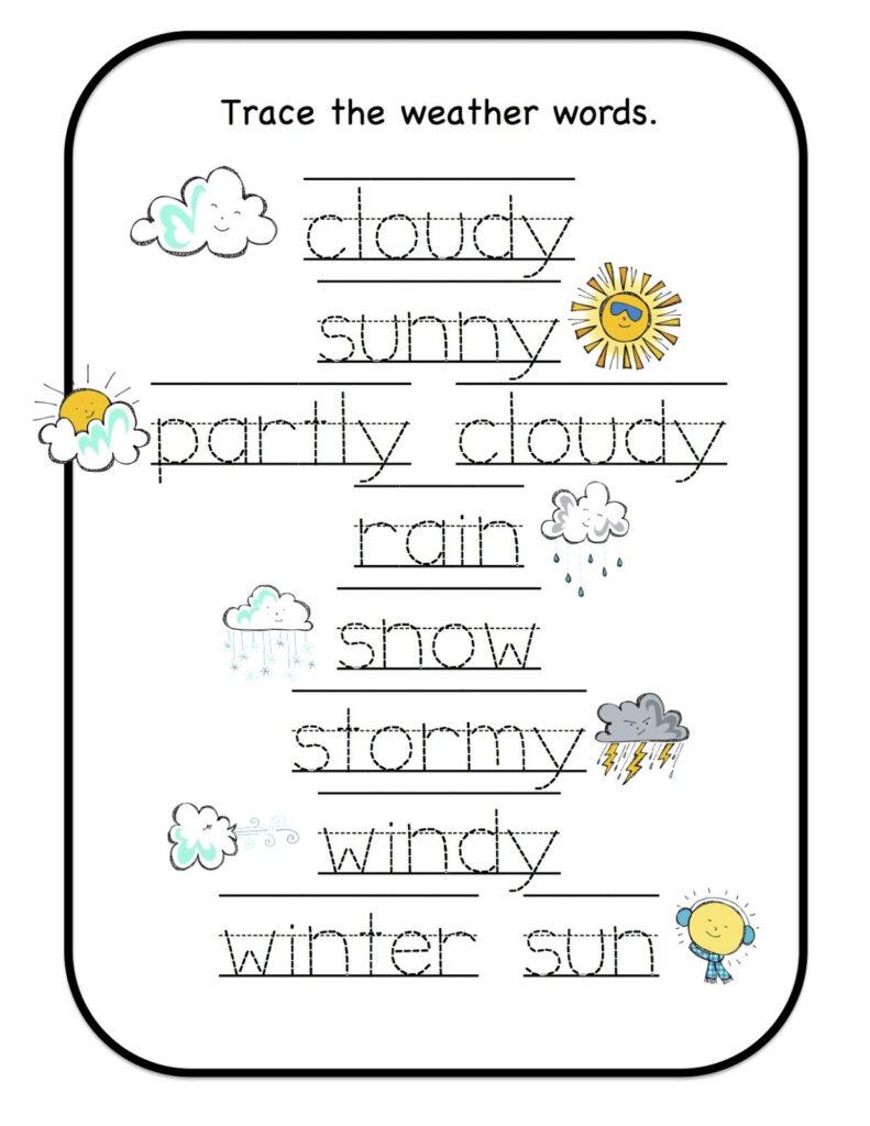 Preschool Printables: Weather | Teaching Weather, Weather In Name Tracing Daniel