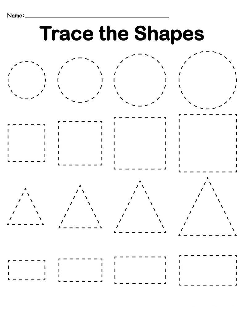 Preschool Tracing Worksheets Best Coloring For Kids Shapes