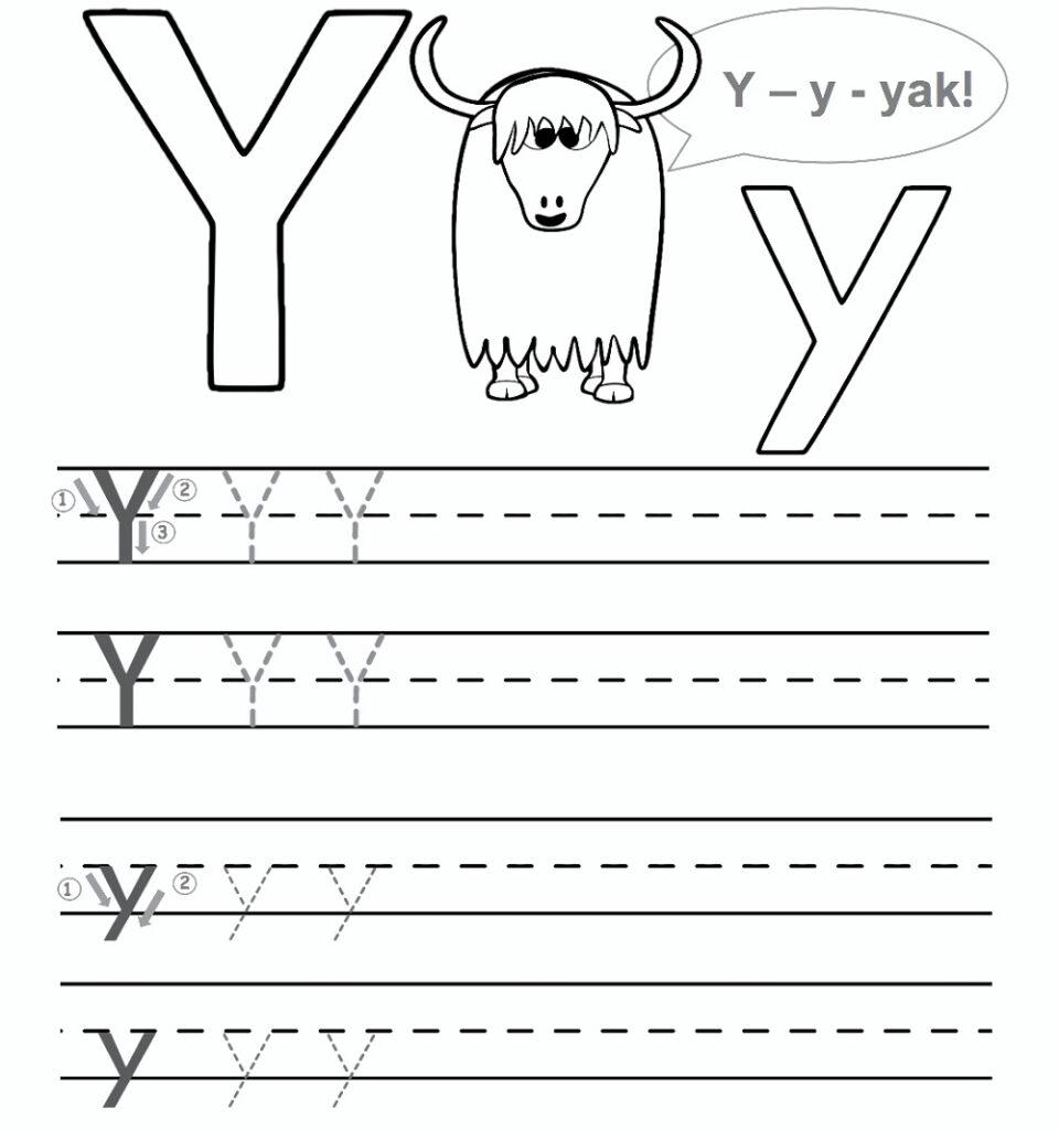 Preschool Worksheet Gallery: Letter Y Worksheets For Preschool Inside Letter Y Tracing Page