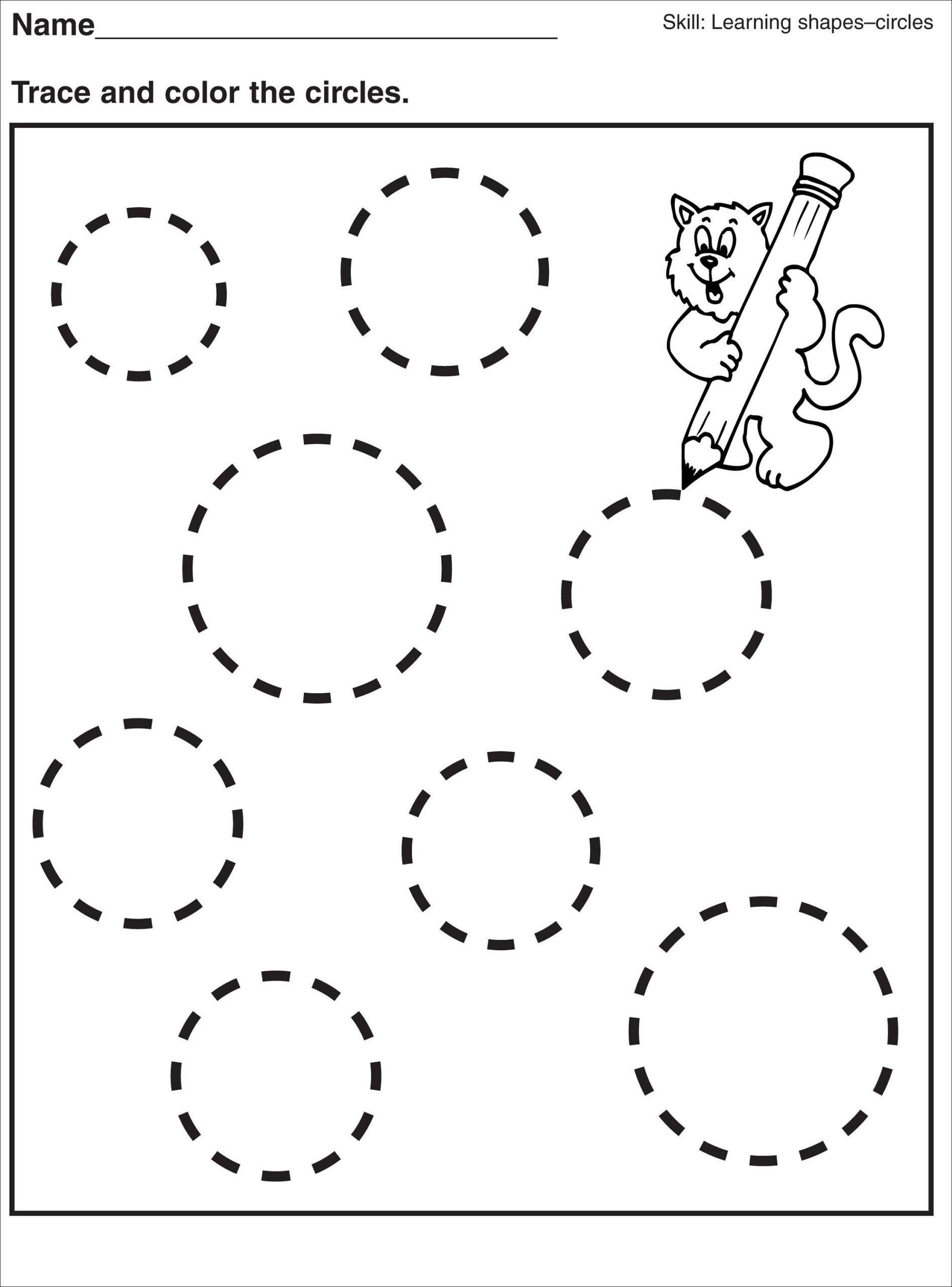 Preschool Worksheet On Circles Calendar Headers Printable