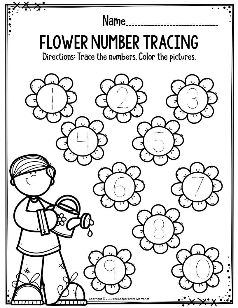 Preschool Worksheets Flower Number Tracing - The Keeper Of