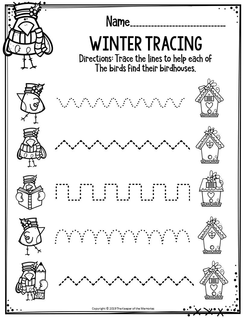 Preschool Worksheets Winter Tracing - The Keeper Of The Memories