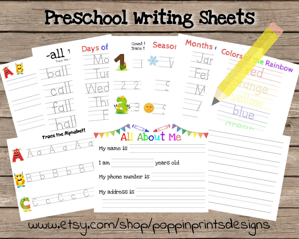 Preschool Writing Worksheets Name Tracing Worksheets | Etsy With Name Tracing Ideas
