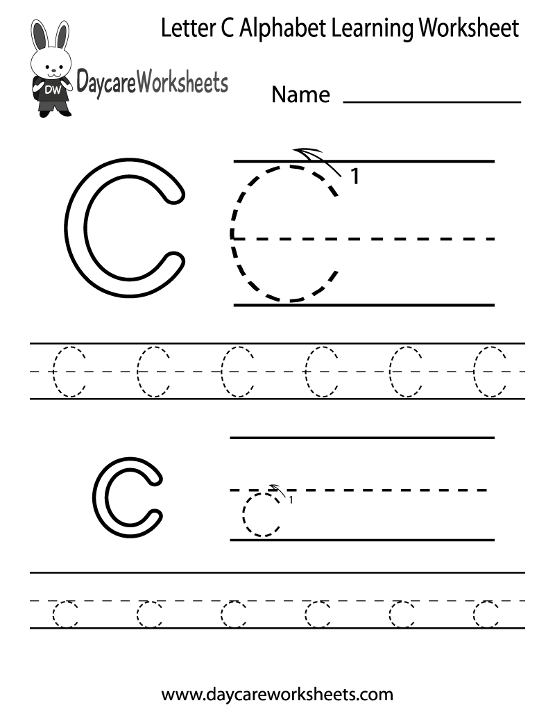 Preschoolers Can Color In The Letter C And Then Trace It for Letter C Tracing Sheet