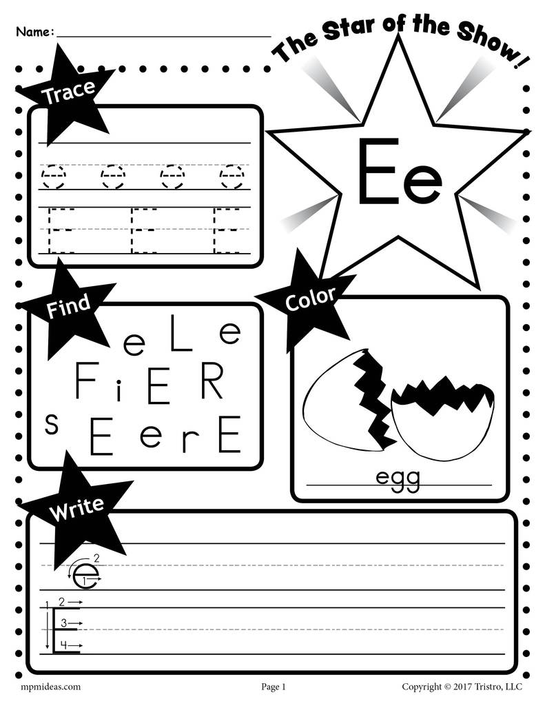 Printable Coloring with Letter E Worksheets Printable