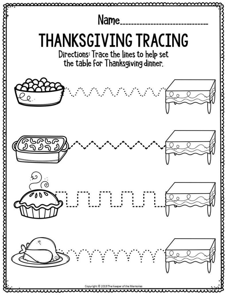 Printable Fine Motor Thanksgiving Preschool Worksheets