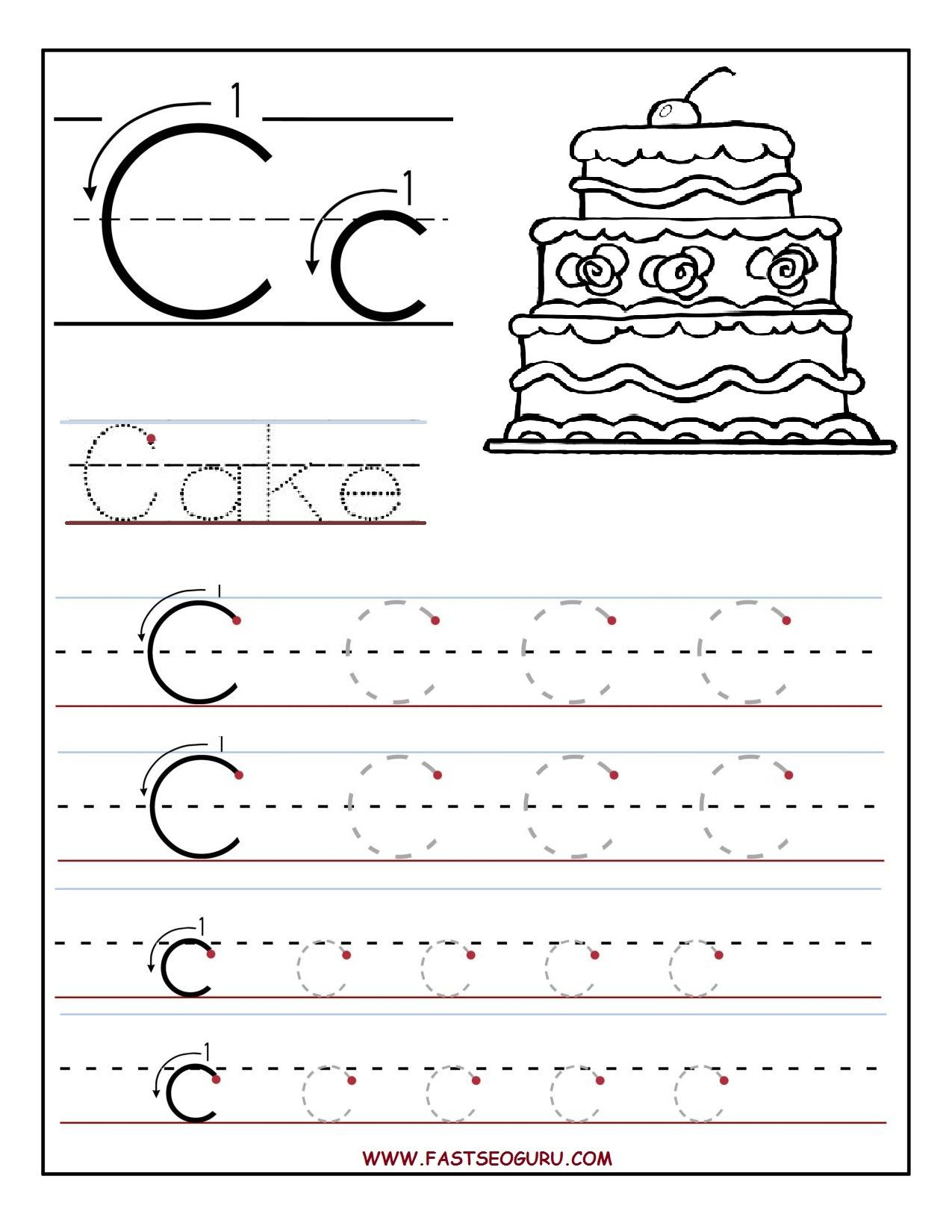 Printable Letter C Tracing Worksheets For Preschool intended for Letter C Tracing Printable