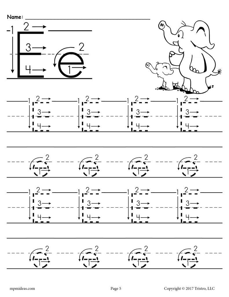 Printable Letter E Tracing Worksheet With Number And Arrow inside Alphabet Tracing Letter E