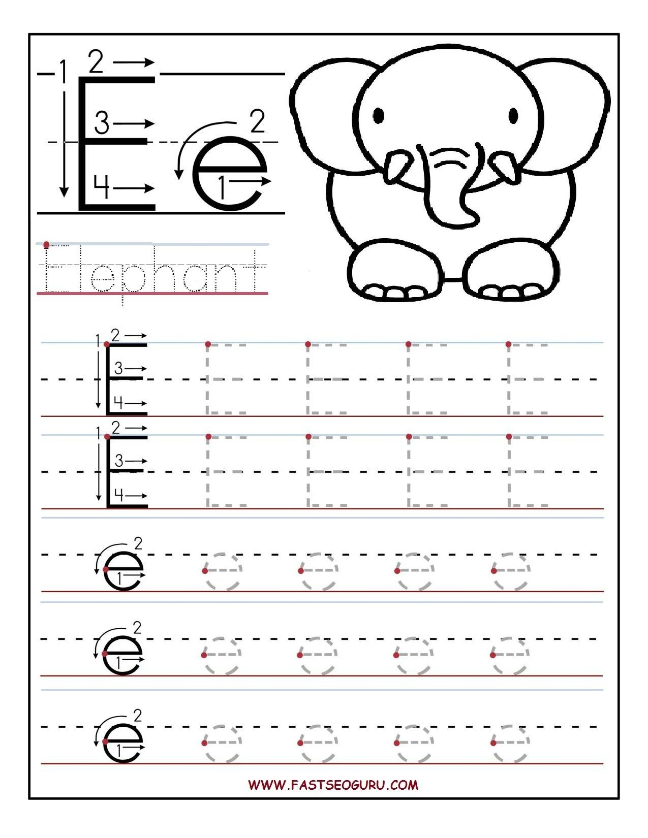 Printable Letter E Tracing Worksheets For Preschool intended for Letter E Tracing Worksheets