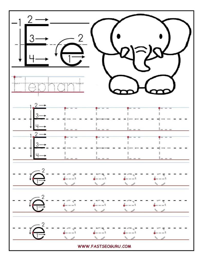 Printable Letter E Tracing Worksheets For Preschool Throughout Alphabet E Worksheets Kindergarten