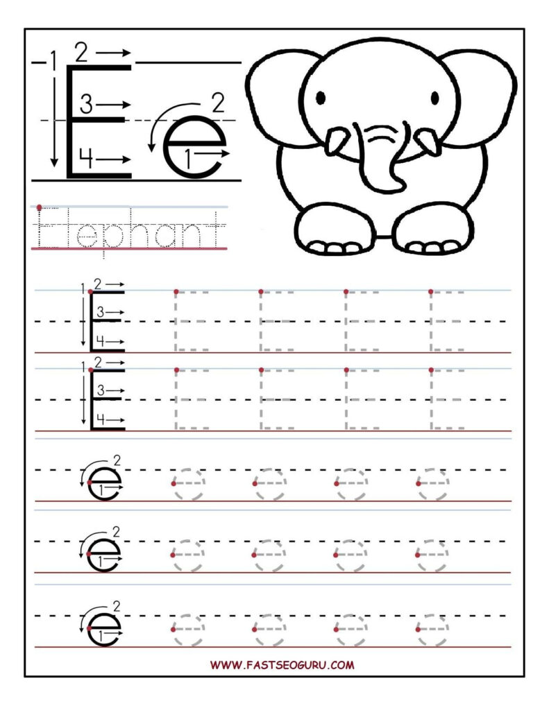 Printable Letter E Tracing Worksheets For Preschool With Letter E Tracing Preschool