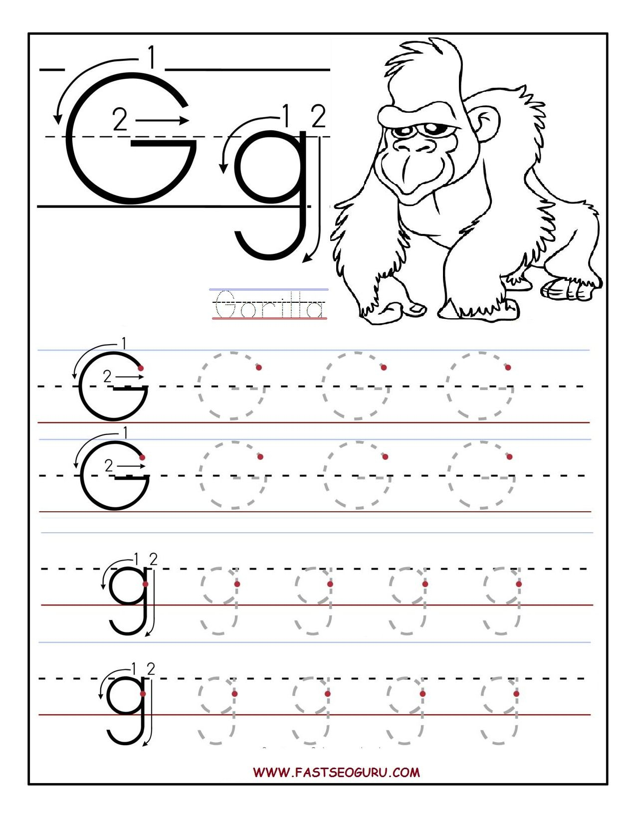 Printable Letter G Tracing Worksheets For Preschool within G Letter Worksheets