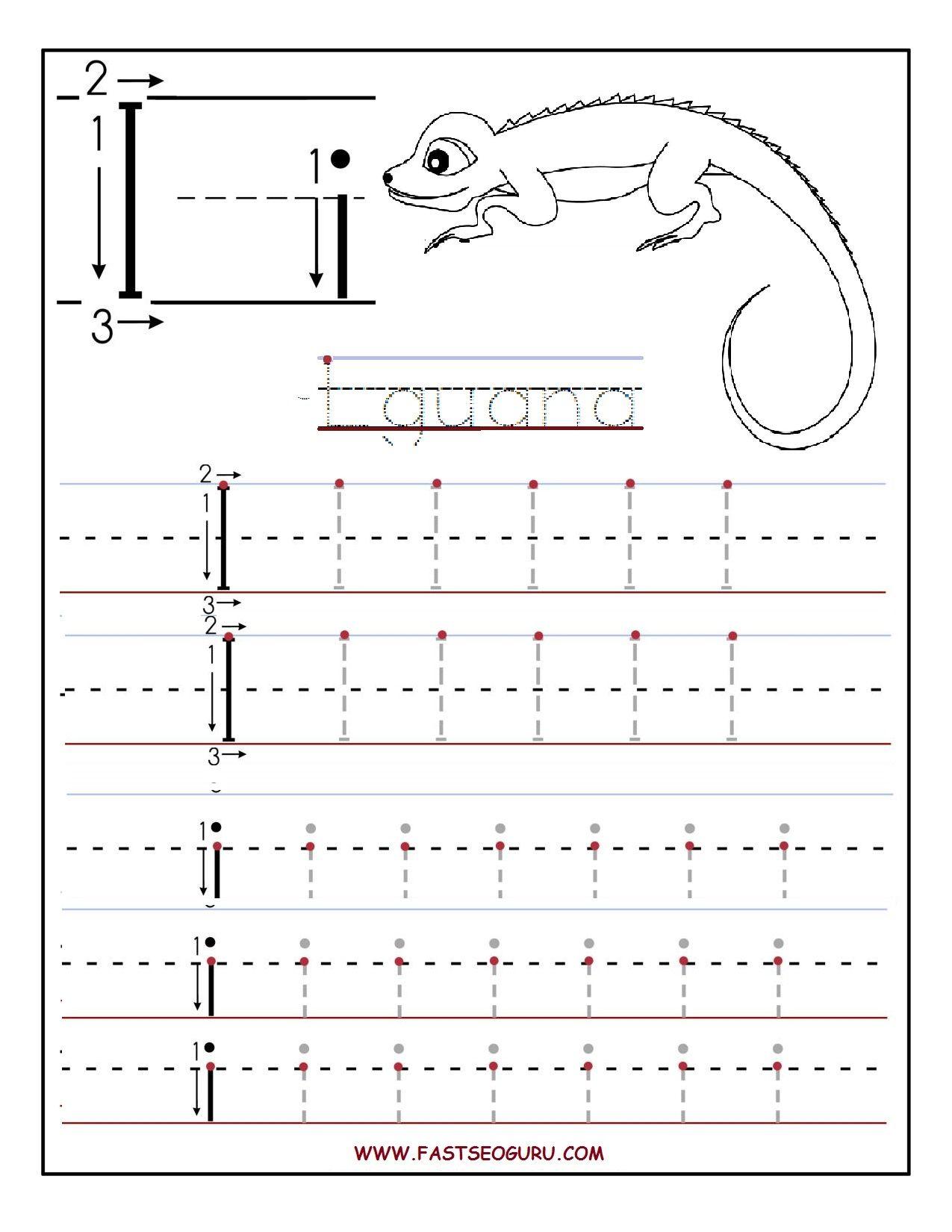 Printable Letter I Tracing Worksheets For Preschool within Letter I Printable Worksheets