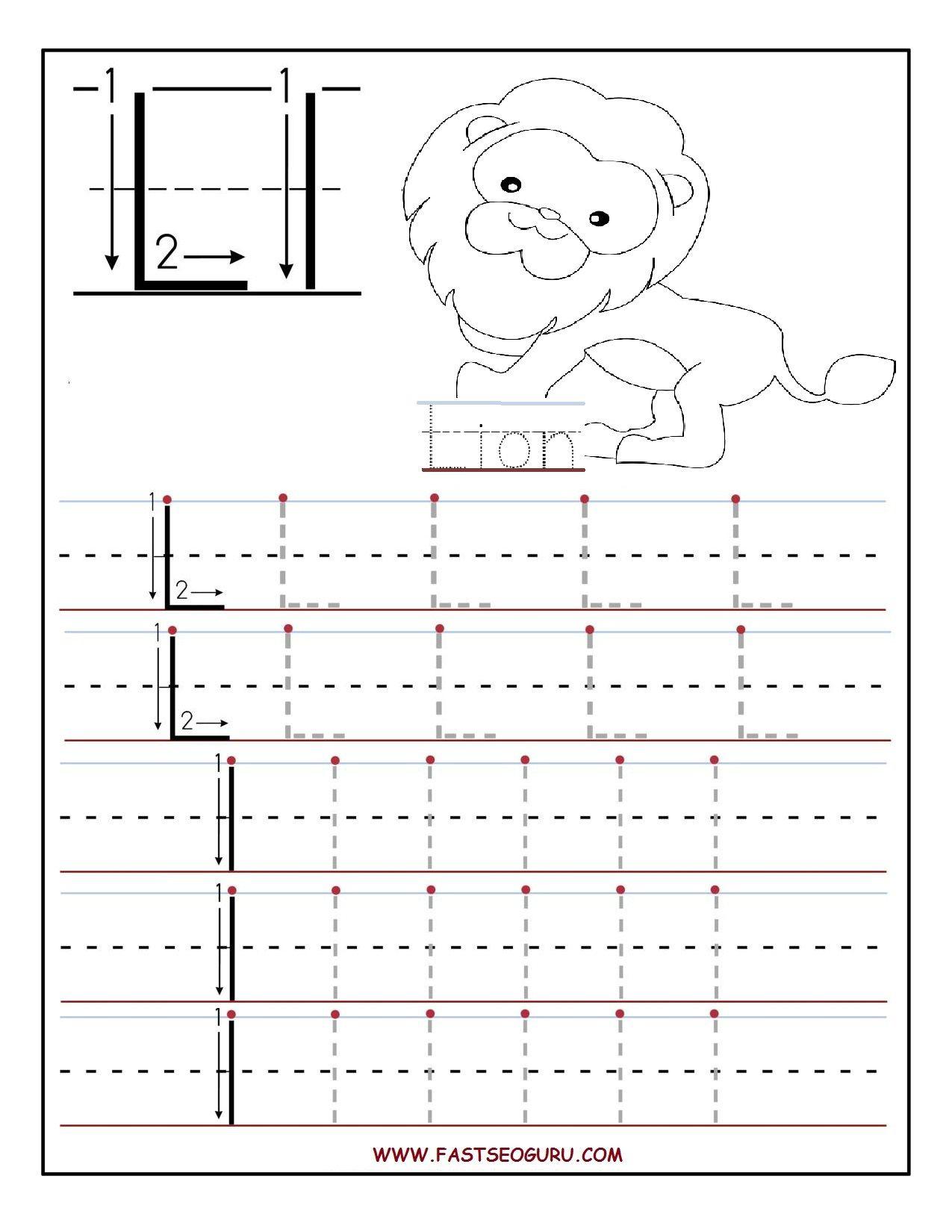 Printable Letter L Tracing Worksheets For Preschool for Letter L Tracing Preschool
