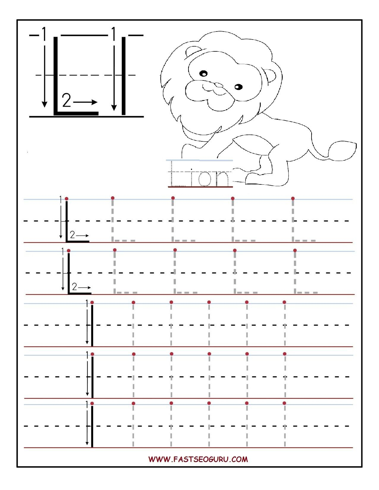 Printable Letter L Tracing Worksheets For Preschool intended for Letter L Tracing Worksheets Preschool