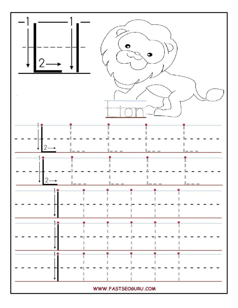 Printable Letter L Tracing Worksheets For Preschool With Alphabet L Tracing