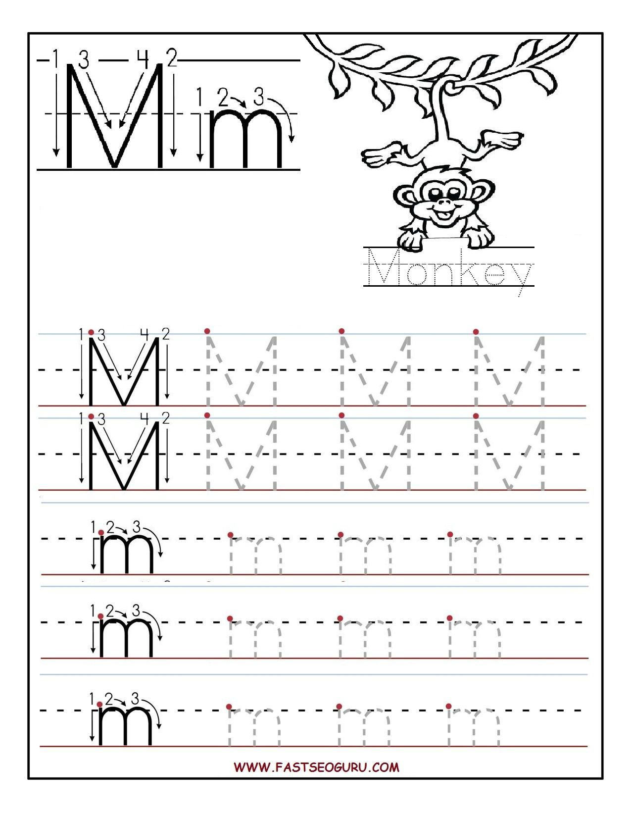 Printable Letter M Tracing Worksheets For Preschool Bobbi pertaining to Letter M Tracing Worksheet