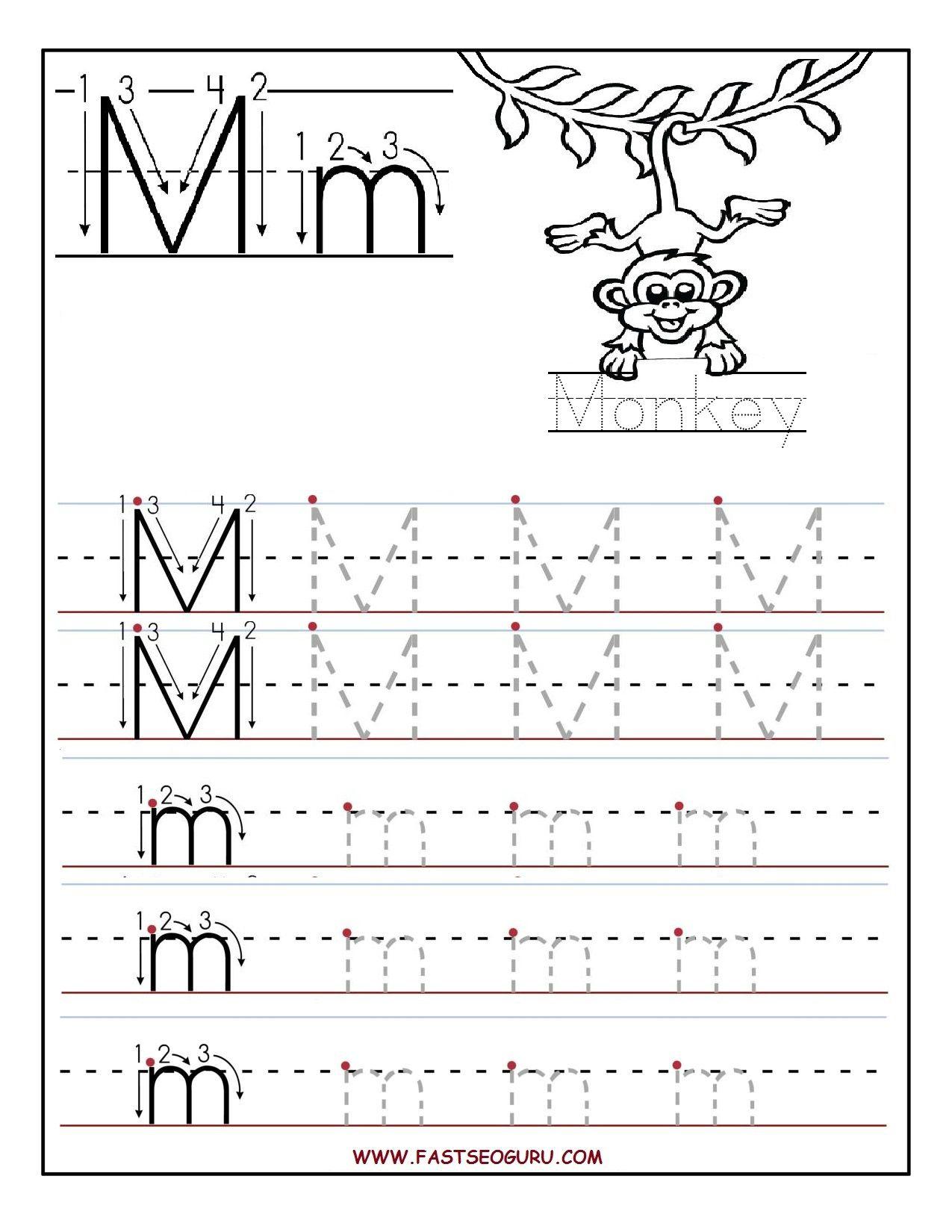 Printable Letter M Tracing Worksheets For Preschool