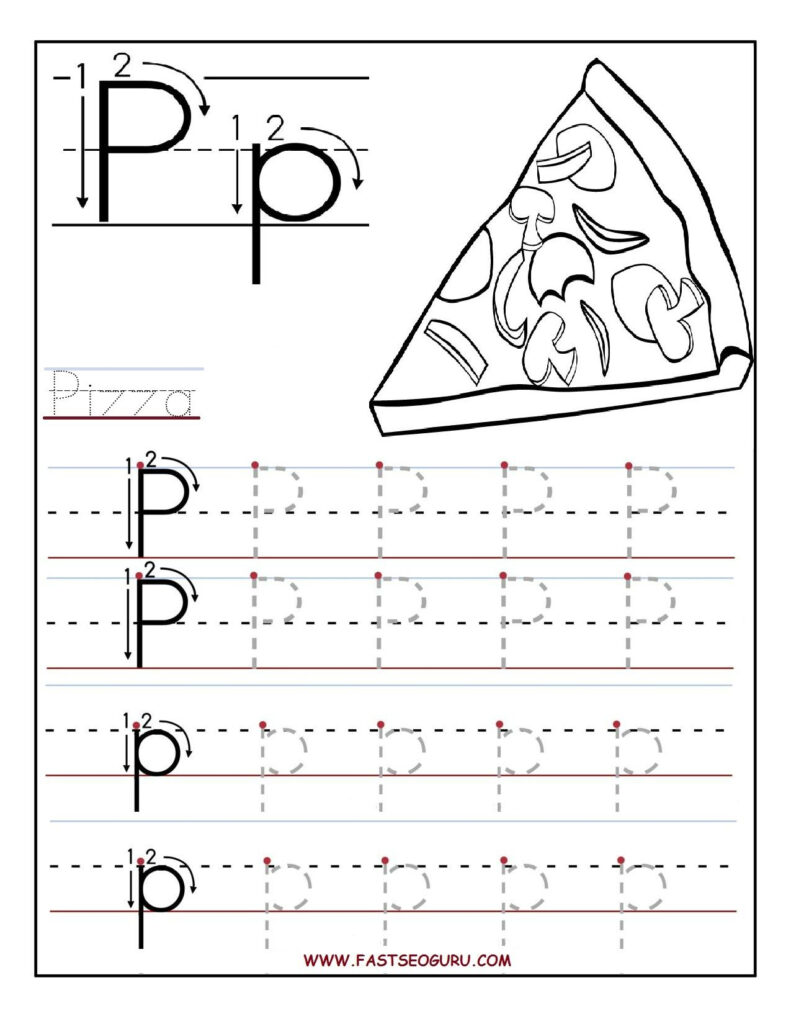 Printable Letter P Tracing Worksheets For Preschool For Letter P Tracing Worksheets For Preschool