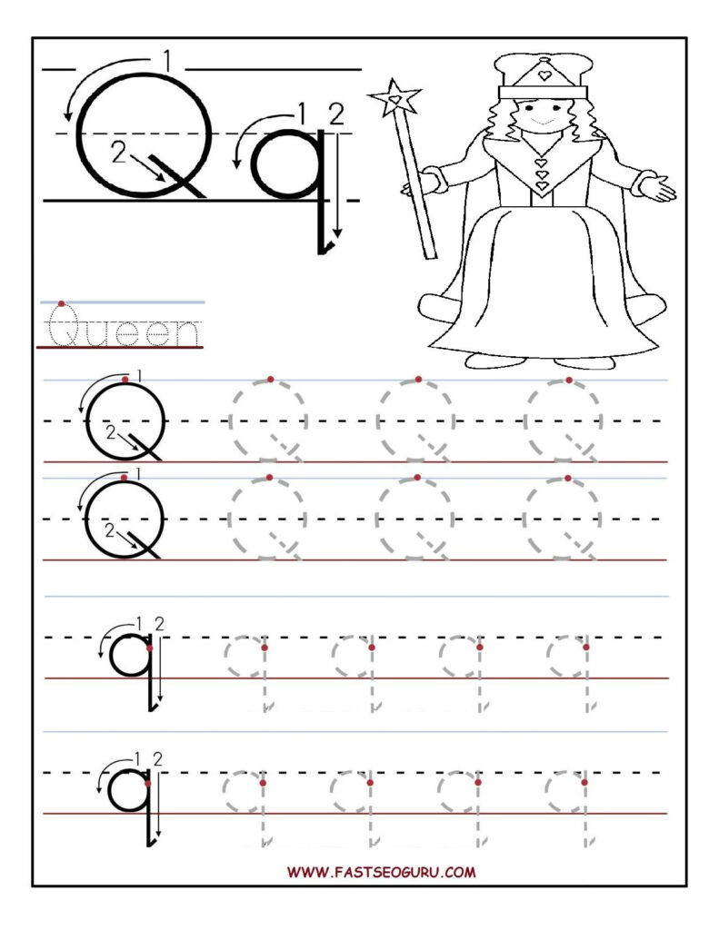 Printable Letter Q Tracing Worksheets For Preschool With Regard To Letter Tracing Q