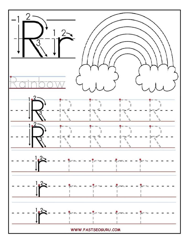 Printable Letter R Tracing Worksheets For Preschool