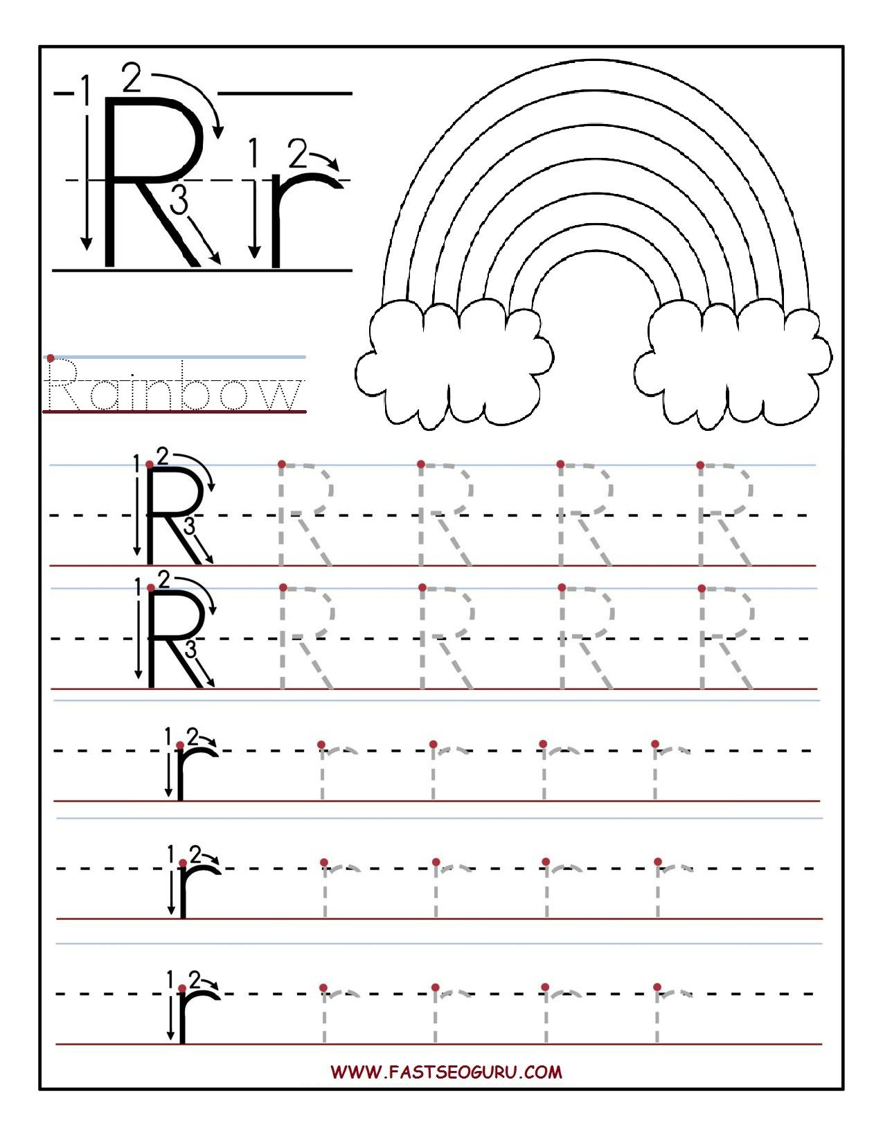Printable Letter R Tracing Worksheets For Preschool | 파닉스 for Letter R Tracing Paper