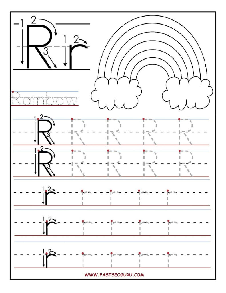 Printable Letter R Tracing Worksheets For Preschool For Letter R Tracing Sheets