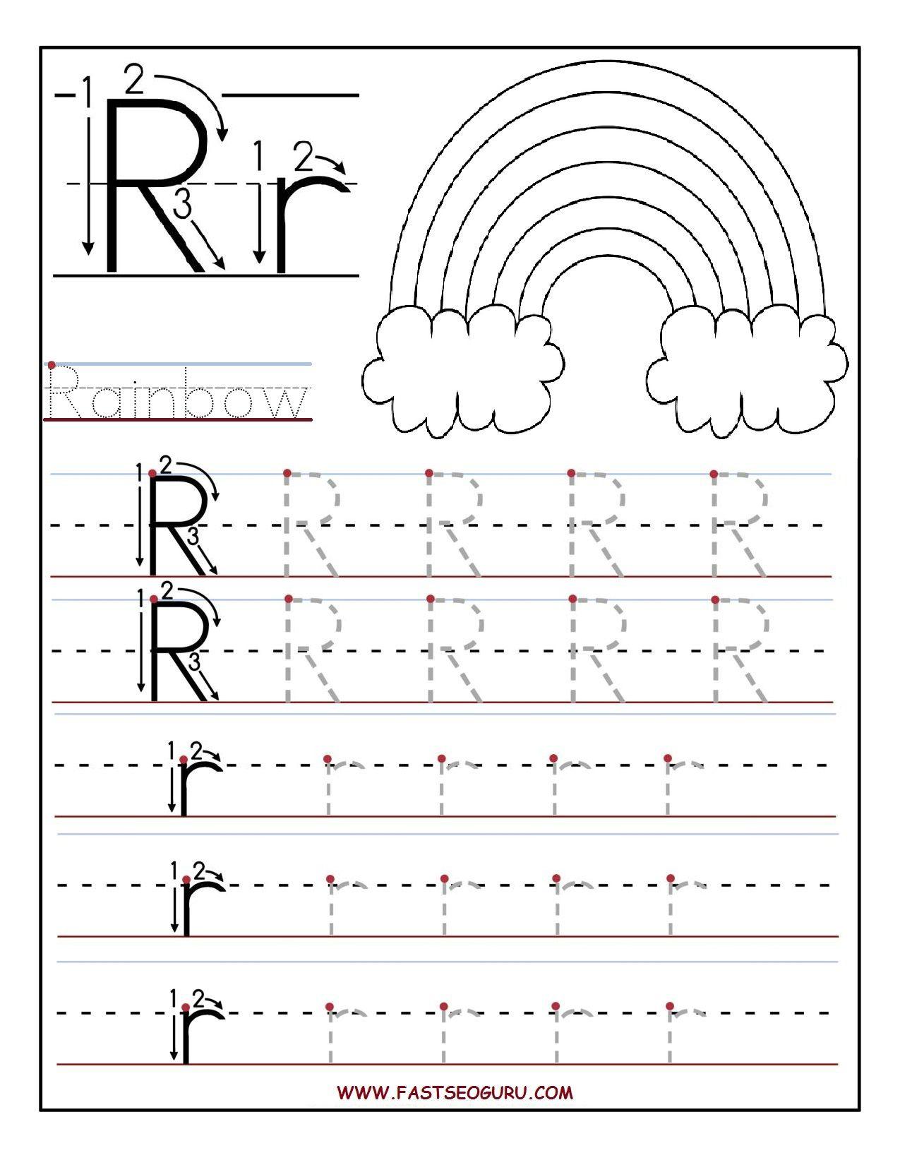 Printable Letter R Tracing Worksheets For Preschool in Alphabet R Worksheets