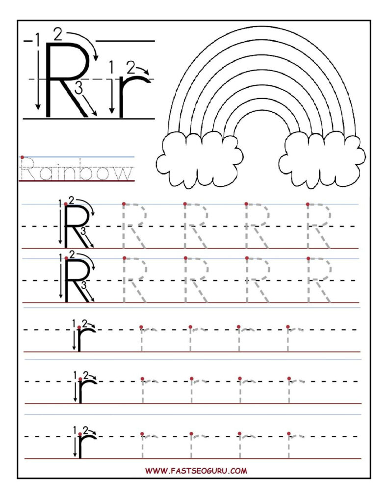 Printable Letter R Tracing Worksheets For Preschool | Letter With Letter P Tracing For Preschool