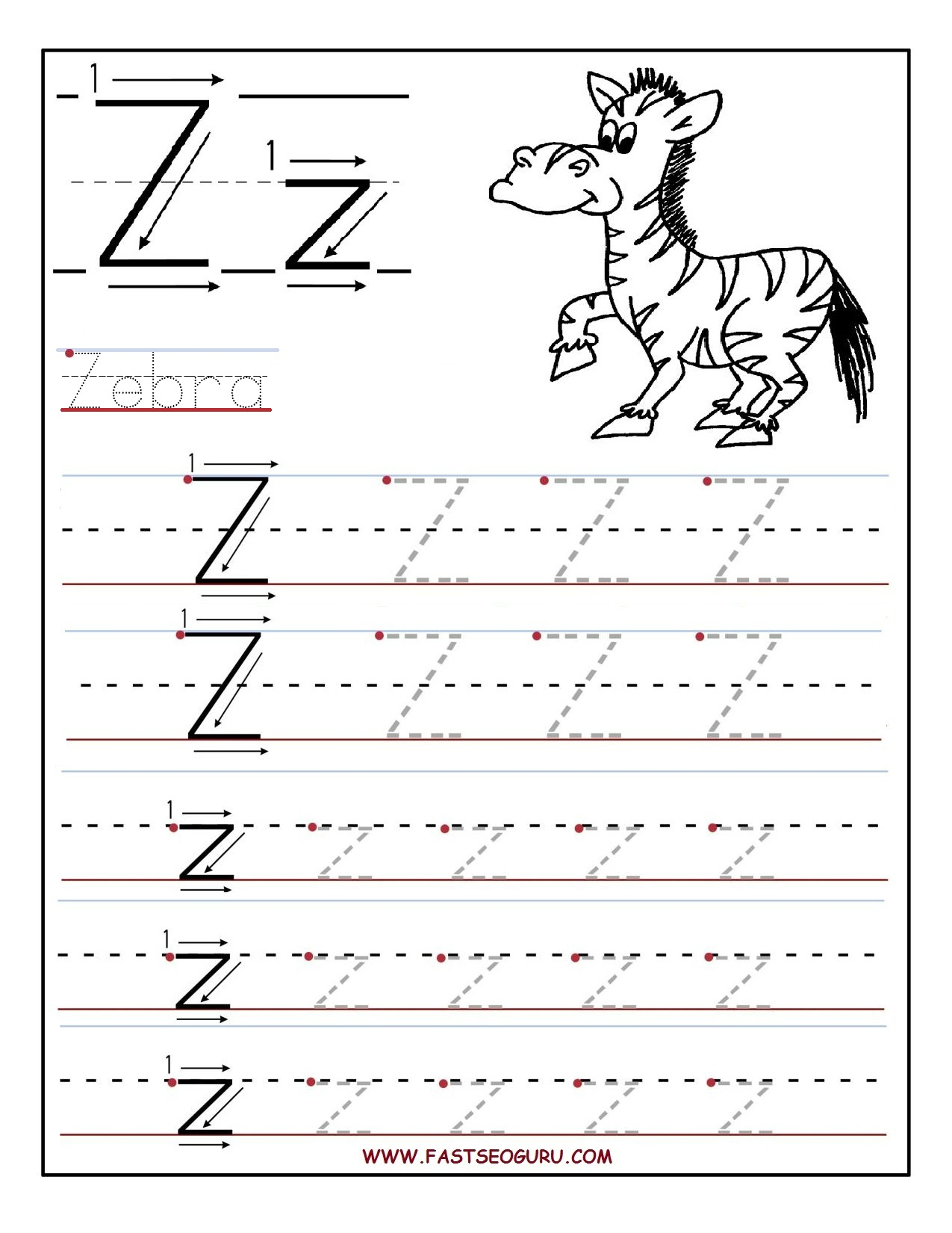 Printable Letter Tracing Worksheets For Preschool To with regard to Letter Zz Worksheets