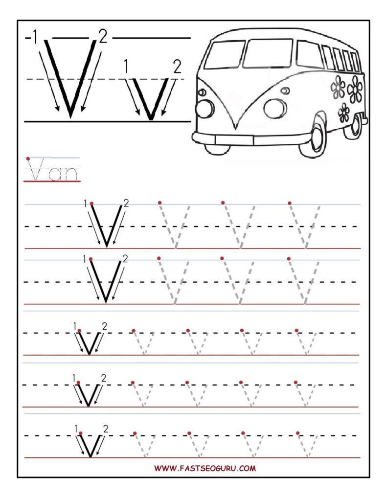 Printable Letter V Tracing Worksheets For Preschool With Letter V Worksheets Pdf
