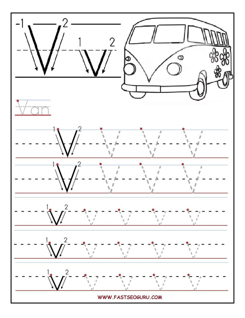 Printable Letter V Tracing Worksheets For Preschool With Regard To Letter Tracing V