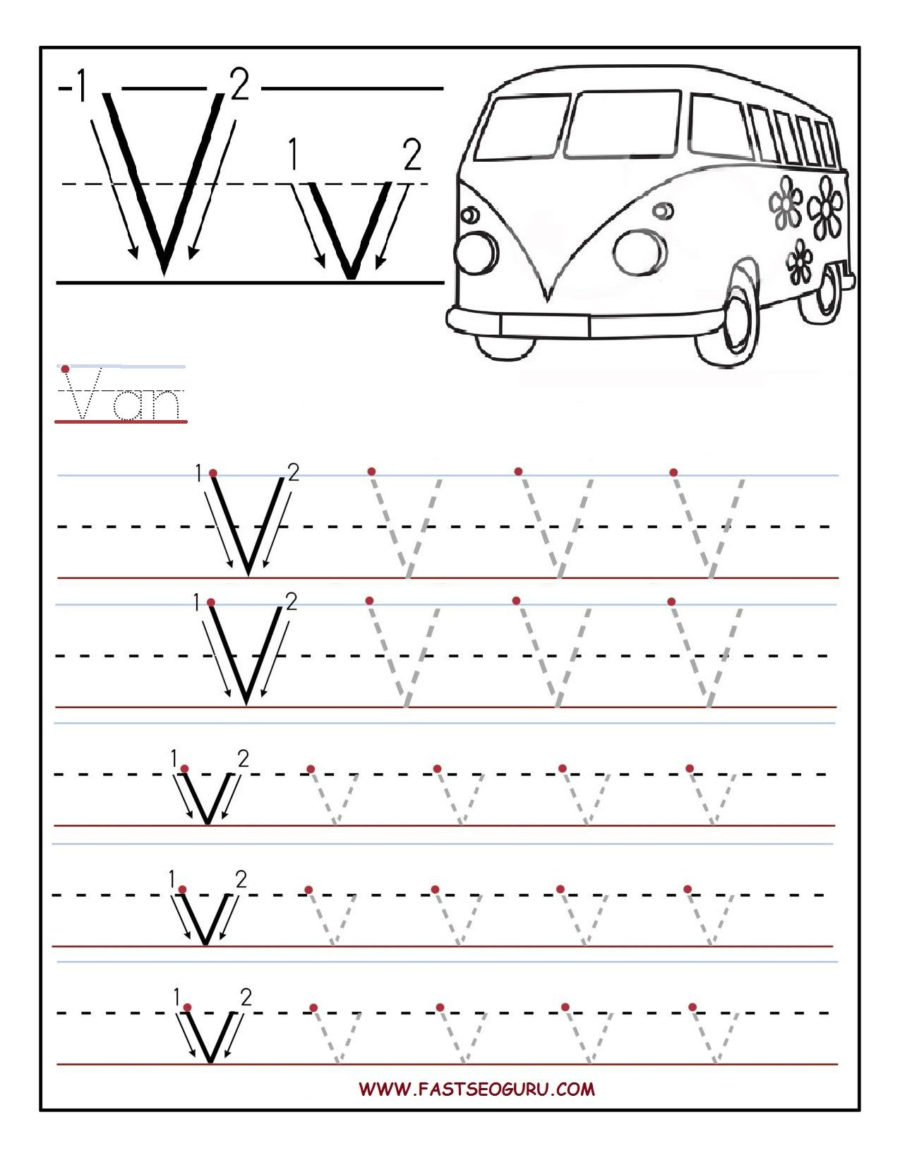 Printable Letter V Tracing Worksheets For Preschool within Letter V Tracing Pages