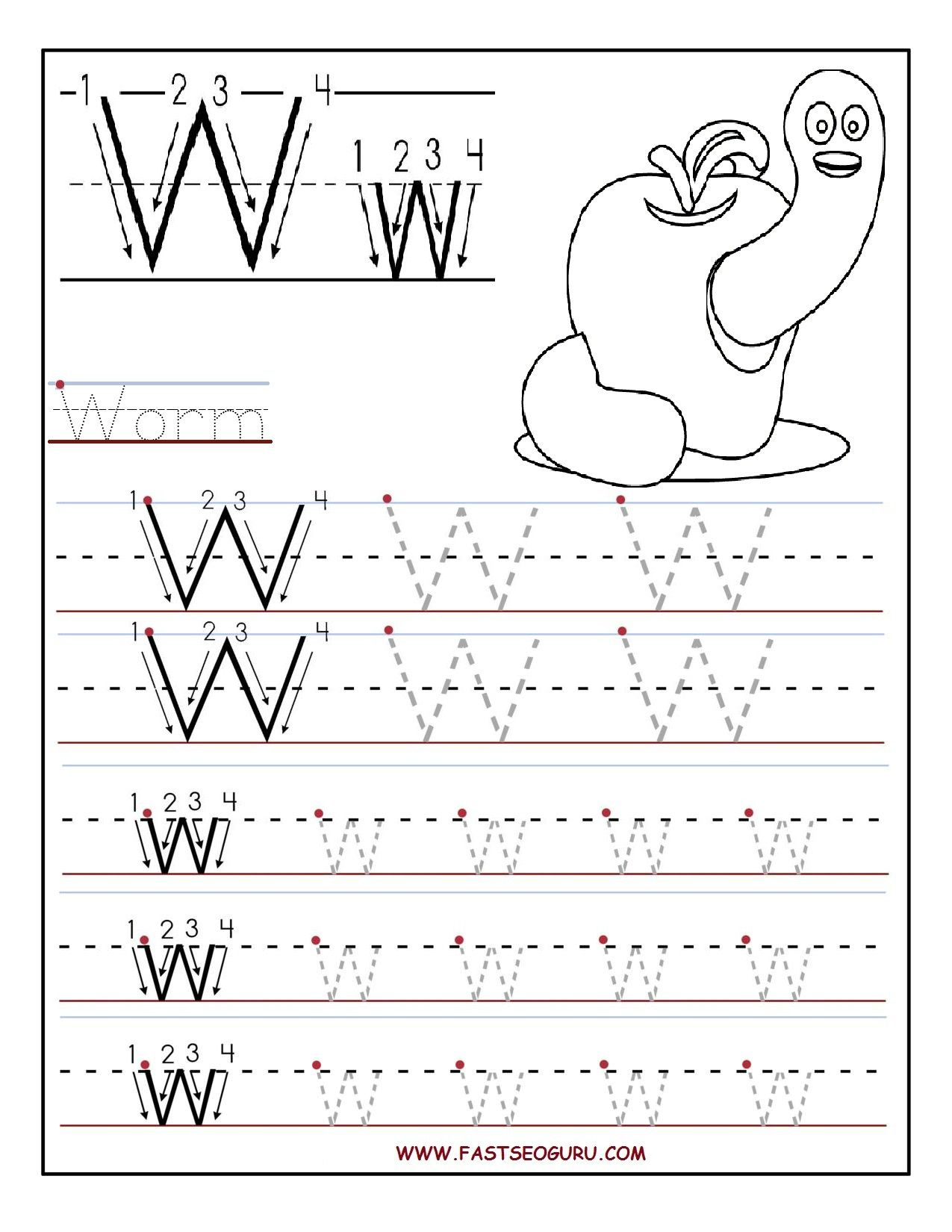 Printable Letter W Tracing Worksheets For Preschool in W Letter Tracing