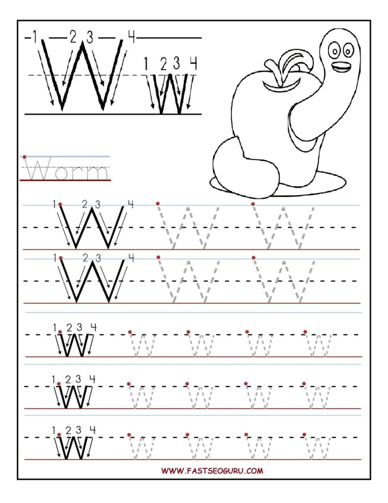 Printable Letter W Tracing Worksheets For Preschool Pertaining To Letter W Tracing Worksheets