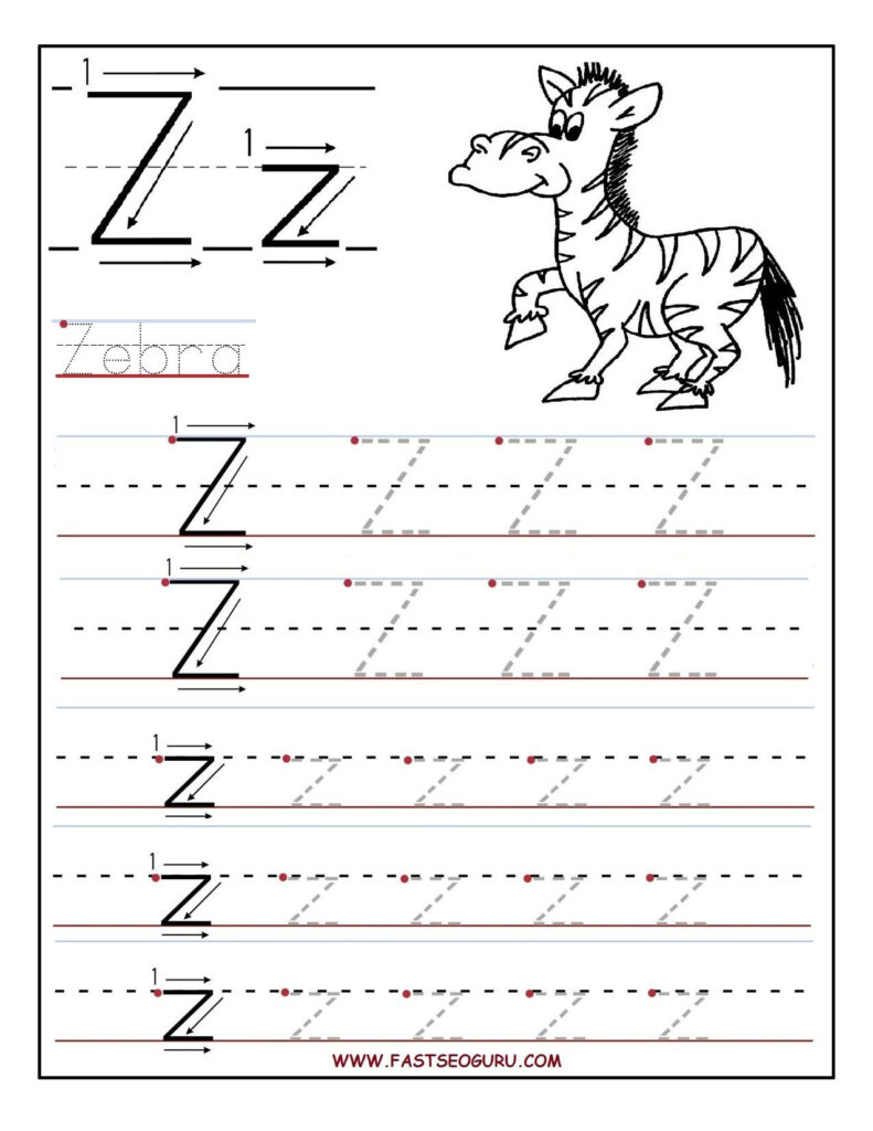 Printable Letter Z Tracing Worksheets For Preschool Pertaining To Letter Z Tracing Sheet