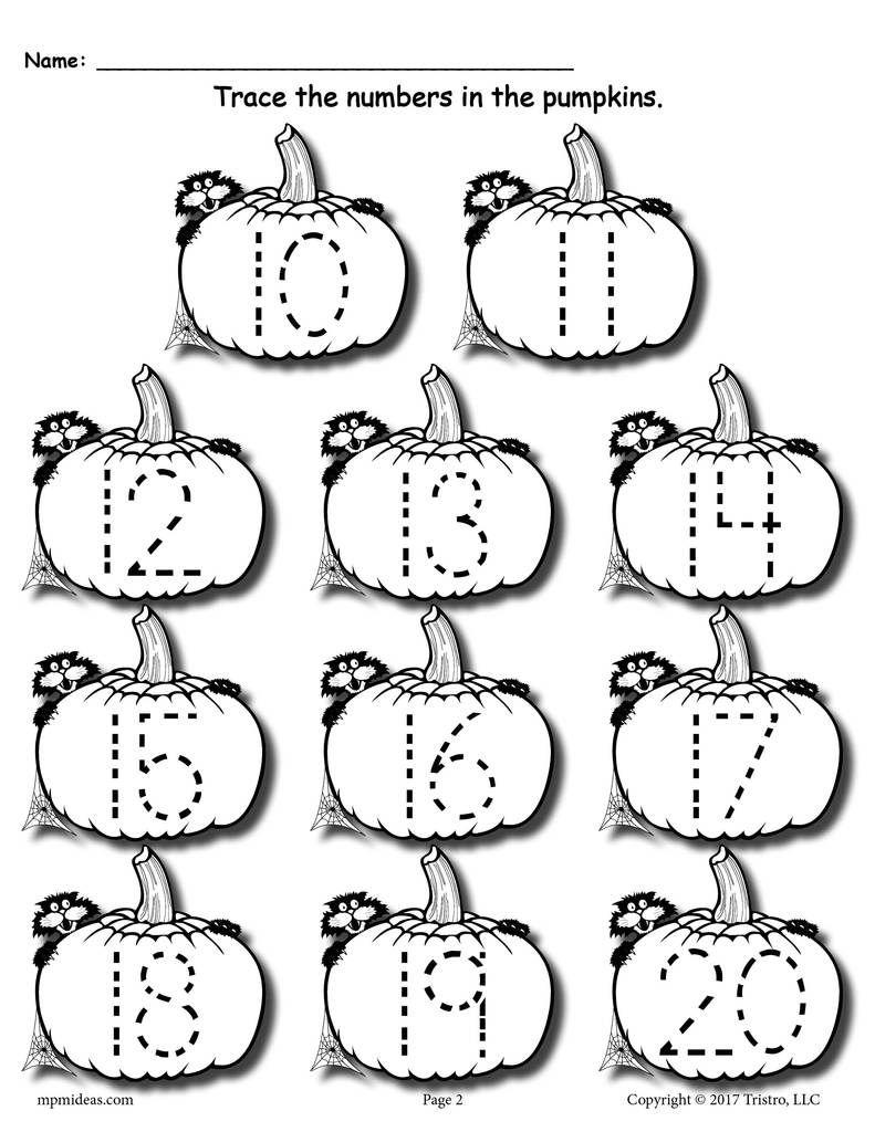 Printable Pumpkin Number Tracing Worksheets 1-20! | Numbers