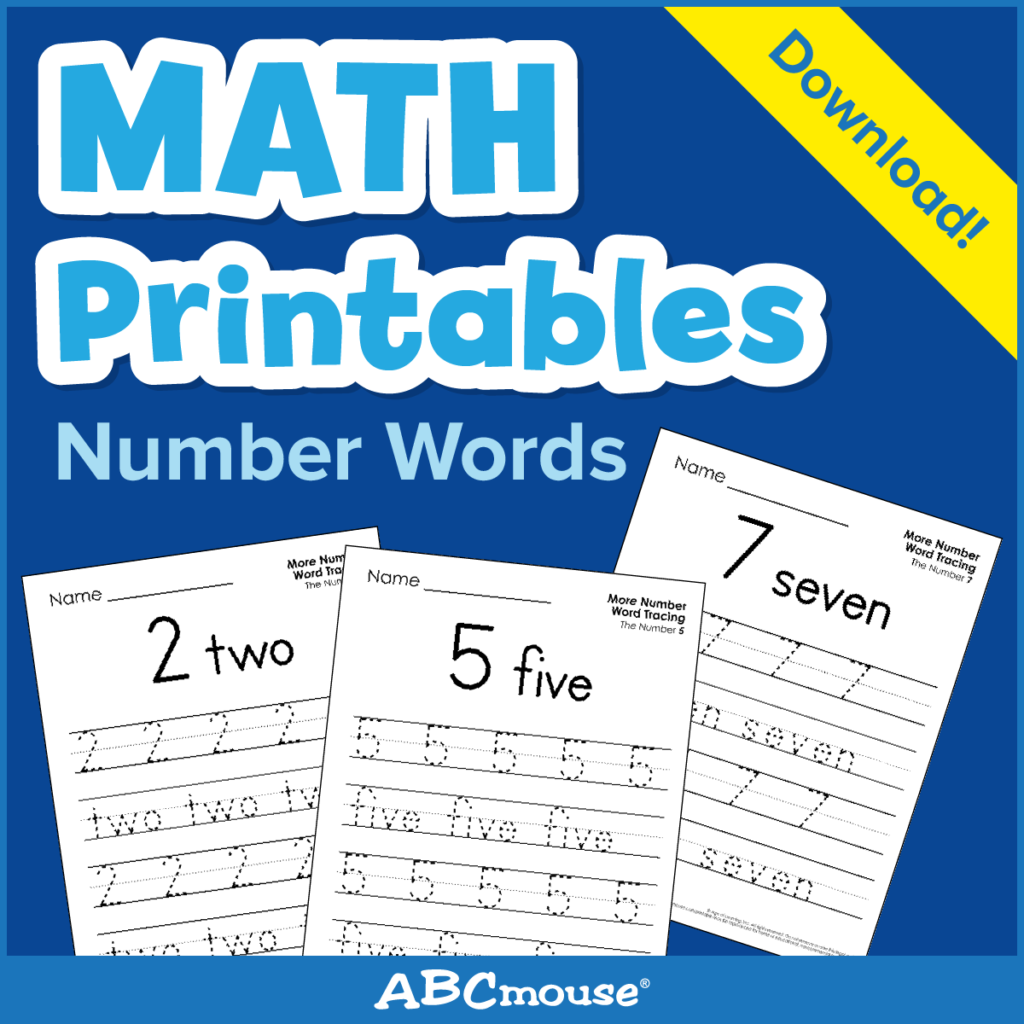 Printables: Number Words - Learn@home Learn@home intended for Abcmouse Name Tracing