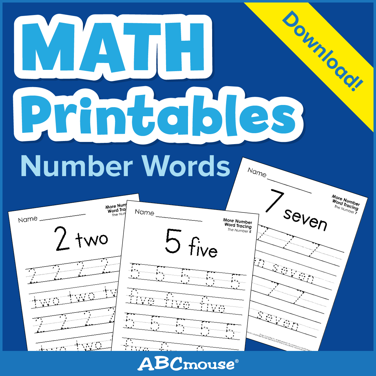 Printables: Number Words - Learn@home Learn@home within Name Tracing On Abcmouse