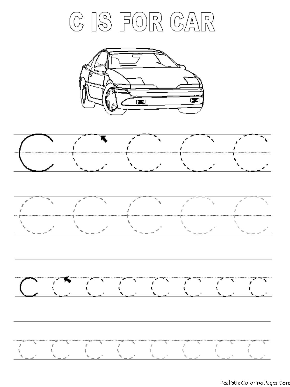 Printables Tracing Letters A-Z | Tags Alphabet Coloring within Letter C Worksheets Tracing