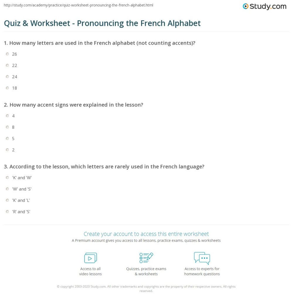 Quiz & Worksheet   Pronouncing The French Alphabet | Study In Alphabet Worksheets In French