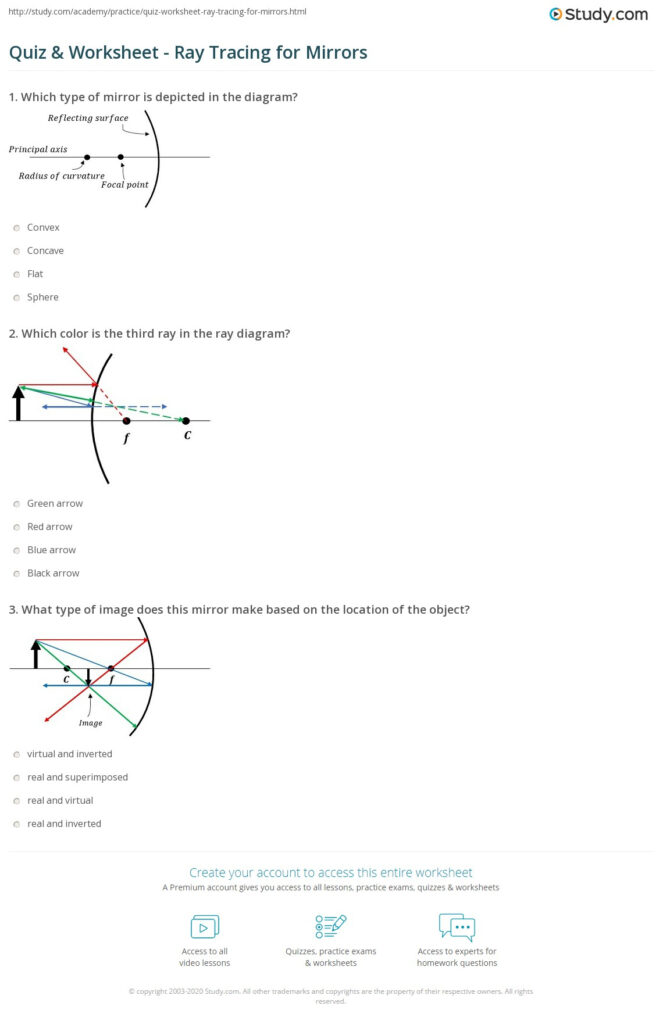 Quiz & Worksheet   Ray Tracing For Mirrors | Study