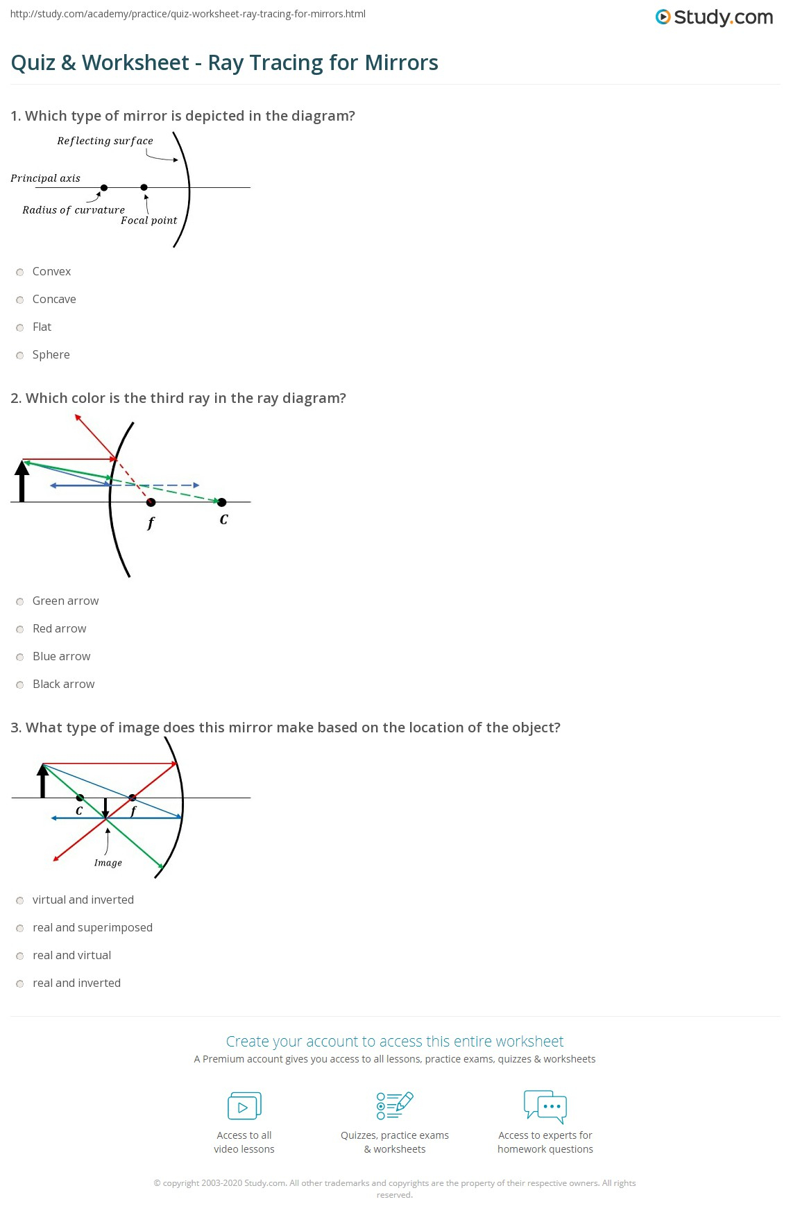 Quiz & Worksheet - Ray Tracing For Mirrors | Study