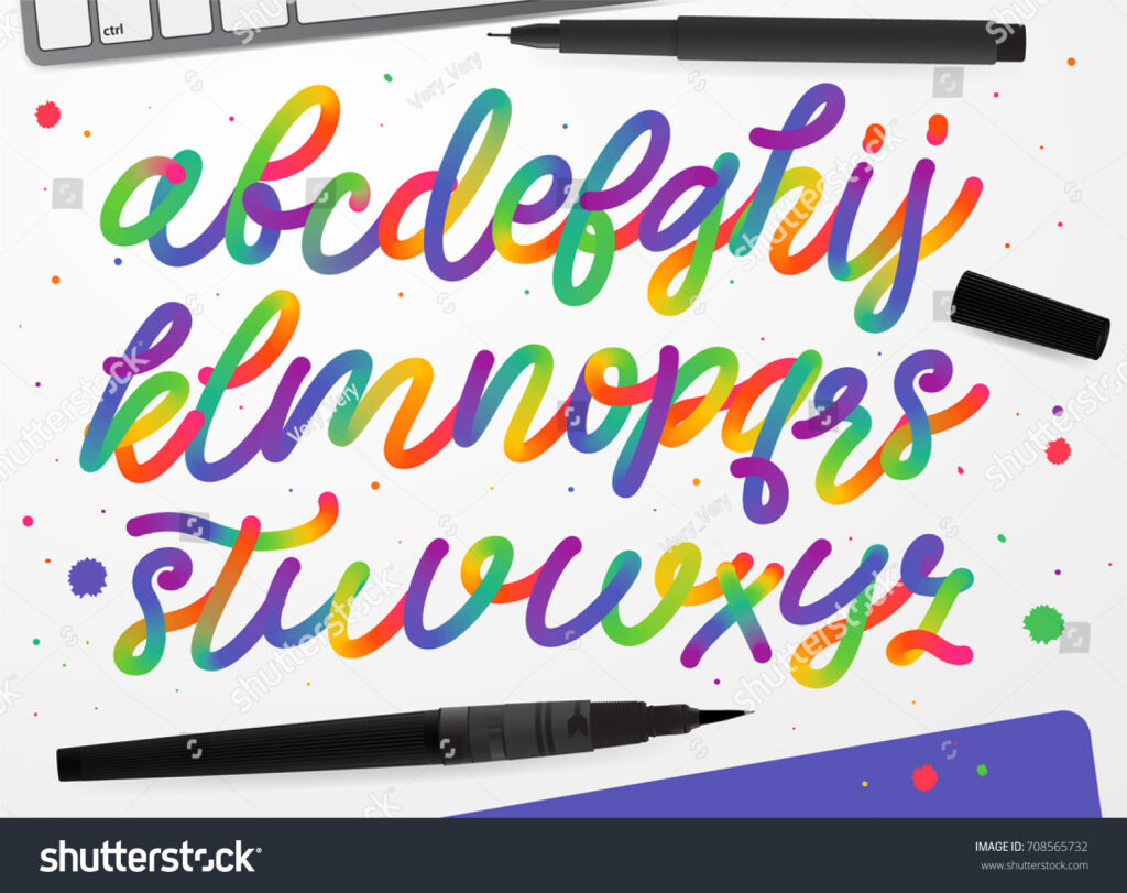Rainbow Alphabet Colorful Vector Alphabet Kids Stock Vector