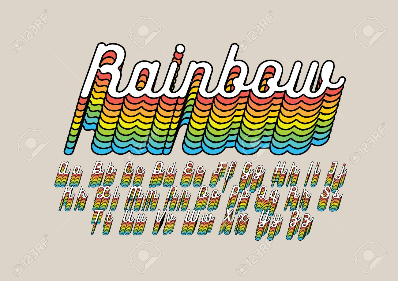 Rainbow Colored Alphabet In Cursive Font On Beige Background.