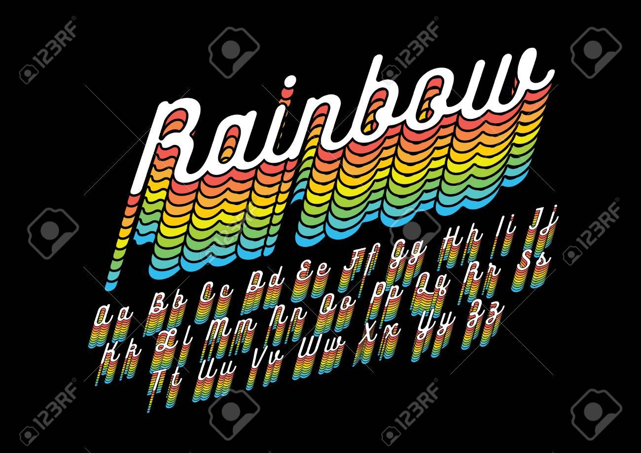 Rainbow Colored Alphabet In Cursive Font On Dark Background.
