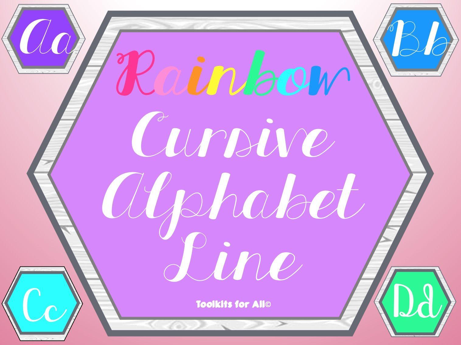 Rainbow Cursive Alphabet Line In 2020 | Alphabet Line