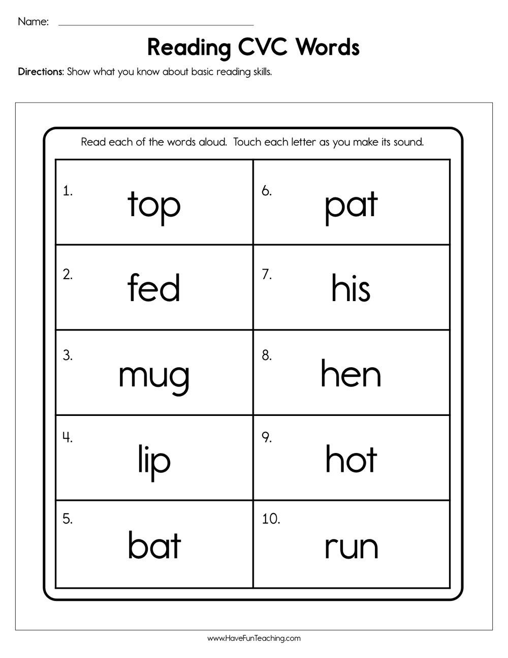 Reading Cvc Words Worksheet